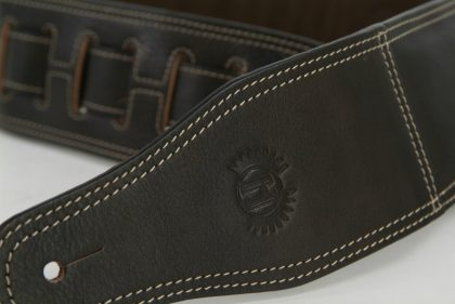 Short Cowhide Guitar Strap by Harvest Fine Leather, Brown